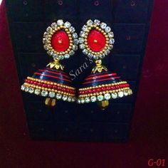 Red and Black Paper quilled Jhumki earrings with golden loreals