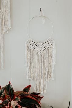 Macrame Wall Hanging // Gold hoop by MossHoundDesigns on Etsy