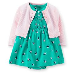 Carter's® Striped Cardigan and Bird Print Dress Bodysuit Dress Set in Pink/Green Baby Girls, Carters Baby Girl, Baby Girl Dresses, Baby Dress, Dress With Cardigan, Striped Cardigan, Flare, Bodysuit Dress, Outfit Sets