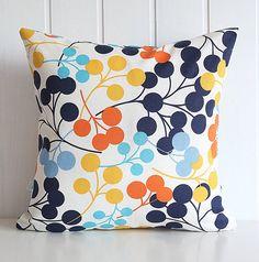 "Navy Blooms Decorative Pillow Cover - Orange Yellow Aqua Blue Polka Dot - Home - 16"" x16"" - living room - Spring Summer Home Decor-LL:colors"