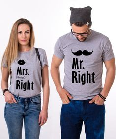 Couples Set Mr. Right, Mrs. Always Right, Matching Shirts. He may be right, but she's always right! Get your matching set now!