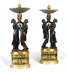A PAIR OF PATINATED AND GILT-BRONZE MOUNTED JASPER CUPS, CONSULAT, CIRCA 1800, AFTER A MODEL BY CLAUDE GALLE Candelabra, Candlesticks, Furniture Projects, Furniture Design, Urn Vase, Bronze, French Empire, Decoration, Luxury Furniture