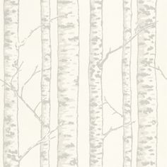 Karelia (286-01) - Duro Wallpapers - A wonderful all-over birch tree design with silver grey bark set against a soft off white background. Please ask for sample for true colour match. Paste-the-wall product.