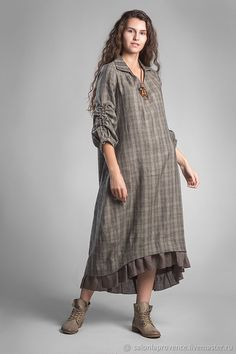 Dress with a collar and a frill - buy in the online store on the Fair Masters with delivery - Linen Dresses, Cotton Dresses, Abaya Fashion, Fashion Dresses, Yeezy Fashion, Kurta Neck Design, Look Fashion, Womens Fashion, Casual Day Dresses