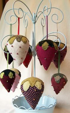 I LOVE these hanging on branches..how about on a  painted tree branch !strawberries