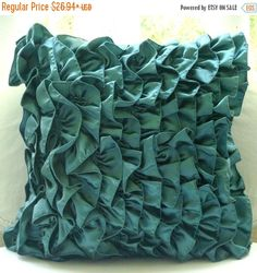 15% HOLIDAY SALE Designer  Teal Blue Pillow by TheHomeCentric