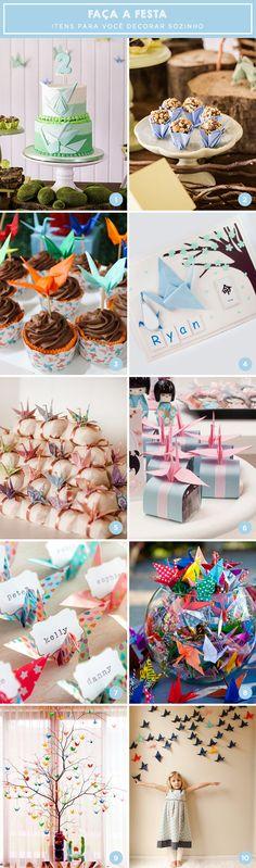 Bolo, docinhos, forminha, backdrop e decoração de mesa estão na nossa seleção de inspirações com o origami tsuru. Vem ver!