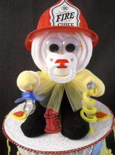 Firefighter Baby Shower Gift Diaper Cake Centerpiece Decoration Fireman    For when @Leslie Haynes has a baby boy!