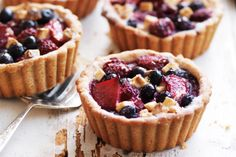 Here's a very berry dessert that showcases sweet red fruit over a golden pastry base.