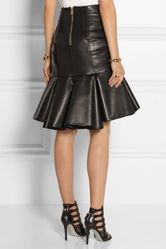 Balmain | Wrap-effect pleated leather skirt | NET-A-PORTER.COM
