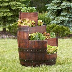 idée déco jardin récup en vieux tonneau en bois transformé en carré surélevé