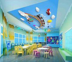 Ceiling Murals - Ceiling Wallpaper - U. Kindergarten Interior, Kindergarten Classroom Decor, Kindergarten Design, Classroom Design, Design Maternelle, Wallpaper Rainbow, Daycare Design, Preschool Decor, Home Daycare