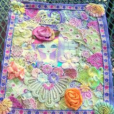Art Quilt with Hand Dyed Lace and Silk Roses