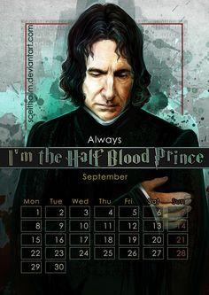 September: Alan Rickman as Severus Snape in the Harry Potter movies. -- Via sceithailm.deviantart.com