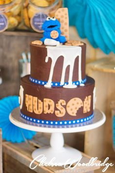 Incredible cake at a Milk and Cookies boy birthday party! See more party ideas at CatchMyParty.com!