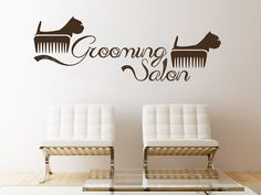 Wall Decals Quote Grooming Salon Decal Dog Comb Vinyl Sticker Pet-Shop Grooming Salon Home Decor Art Mural Ms531