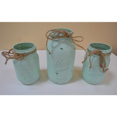 Distressed Jar, Rustic Home Decor, Set of 3, Wedding Decor, Flower... ($15) ❤ liked on Polyvore featuring home and home decor