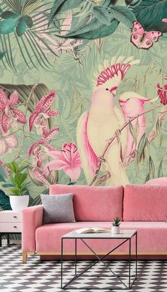 Shop this tropical Pink Cockatoos wallpaper mural by Andrea Haase.Enjoy the feel of the jungle in your room with this pink and green jungle wallpaper mural by Andrea Haase. Find more home inspiration from Wallsauce. We have a large Art Deco Wallpaper, Home Wallpaper, Pink Wallpaper Living Room, Tropical Bedrooms, Tropical Wallpaper, Wall Murals, Pink And Green, Bedroom Decor, Jungle Theme