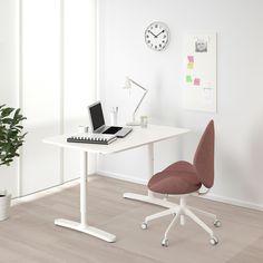 Ikea Desk, Ikea Bekant Desk, Ikea Family, Under The Table, White Desks, Hemnes, Adjustable Height Desk, Conference Table, Writing