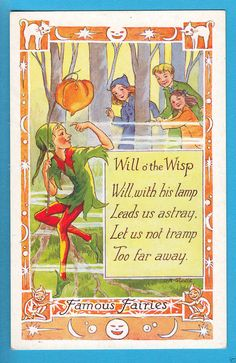 L.R. Steele: Famous Fairies - Will o' the Wisp Lantern/Verse - PC c.1940s (P937) | eBay
