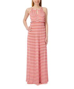 Loving this Coral & Ivory Stripe Keyhole Maxi Dress on #zulily! #zulilyfinds