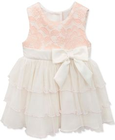 Rare Editions Baby Girls' Peach & Ivory Party Dress