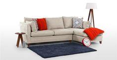 Bari, un canapé-lit d'angle droit avec compartiment de rangement, beige opale | made.com