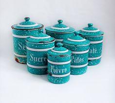 Ensemble de 6 Turquoise Français Vintage marbré émail cuisine Spice conteneurs avec rayures blanches et lettrage, imbrication, Cuisine, Français pays