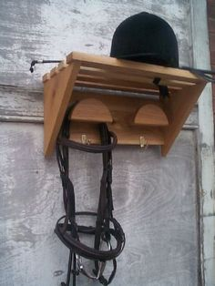 Wood Bridle Rack with Shelf - 2 Slot - Click Image to Close