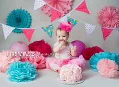 First Birthday Cake Smash! #CakeSmash #Cake #Messy #Birthday #Girly #Pink #Ruffles #Blue #LittleWhimsiesPhotography #LWP #LittleWhimsies #NewYorkPhotographer #WestchesterPhotographer #NYCPhotographer #AsSeenonTLC #CakeBoss Little Whimsies Photography