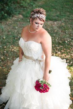 Rockford Wedding Photography by Brian Adams. Dark pink rose bouquet. Strapless gown. Short hair bride. Beautiful