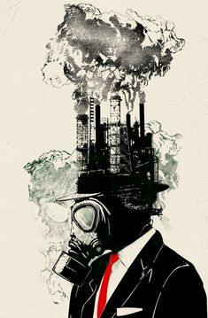 Ideas, steam coming out of a person's head Magritte Industrial Revolution