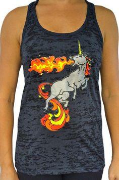 Fire Breathing Unicorn Burnout Tank Top