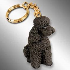 Poodle Chocolate Sport Cut Dog Key Chain Ring Holder