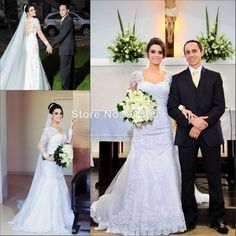 Long Sleeve Beach Mermaid Wedding Dresses Lace Appliques Garden Bridal Gowns India African Arabic Wedding  Gown 2014 Veil Free