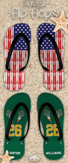 We're ready for summer and so are our feet! Check out our lacrosse flip flops that come in dozens of custom and personalized options! Perfect for summer!