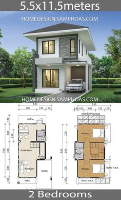 Small House design plans with 2 bedrooms - Home Ideassearch smallmodernhome Narrow House Designs, Small House Design, Modern House Design, Simple House Plans, Tiny House Plans, House Floor Plans, Beautiful Small Homes, 2 Storey House Design, Architectural House Plans