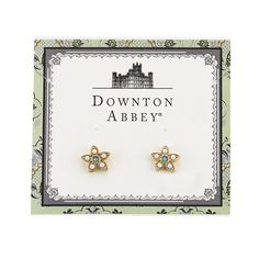 $25 Downton Abbey® Gold-Tone Simulated Pearl & Turquoise Color Flower Button Earrings