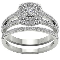 34b20923456 Details about Split Shank Halo Bridal Wedding Ring SI1 G 1.55Ct Natural  Diamond 14K Solid Gold