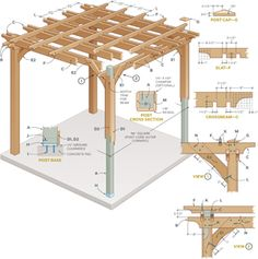 The pergola kits are the easiest and quickest way to build a garden pergola. There are lots of do it yourself pergola kits available to you so that anyone could easily put them together to construct a new structure at their backyard. Diy Pergola, Cedar Pergola, Building A Pergola, Outdoor Pergola, Pergola Kits, Wooden Pergola, Small Pergola, Building Plans, How To Build Pergola
