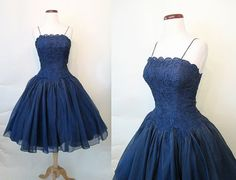 Stunning 1950's/1960's Deep Blue Lace and Silk by wearitagain