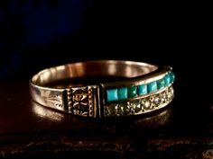 1870-80s Turquoise & Rose Cut Diamond Ring, 10K Gold (sold)