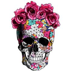 geometrics sugar skull with rose floral crown temporary tattoo - small