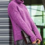 Спицами свободный свитер с удлиненной спинкой фото к описанию
