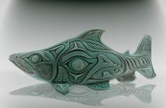 Sockeye Salmon   par jose curtis art Inuit Kunst, Inuit Art, Arte Haida, Haida Art, Native Art, Native American Art, Fish Sculpture, Wood Sculpture, Soapstone Carving