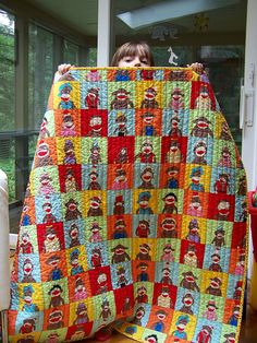 Back of the sock monkey quilt - love this fabric.