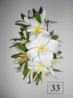 PLUMERIA ARIA -Tropical flower Clip,Hawaiian,white,foam Plumeria,Silk,Spider Lilies,Hawaii,Weddings,Beach Brides,Hula,Proms,Cruises,Corsage,