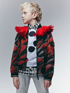 Feather collar made from feathers at VV.Rouleaux, spotty top by Marni, jacket by CP Company