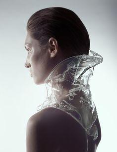 Sculptural Neckpiece with see-through moulded structure; wearable art // Ilya Plotnikov x Alexandra Zaharova