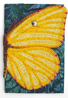 Beaded Butterfly art journal cover ~it's actually a book. The butterfly wing opens to reveal a 6 page book of photos journaling.what a gorgeous creative idea! Fabric Journals, Art Journals, Art Textile, Wow Art, Butterfly Art, Butterflies, Beaded Animals, Handmade Books, Journal Covers